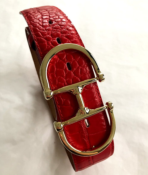 Belt red with snaffle gold