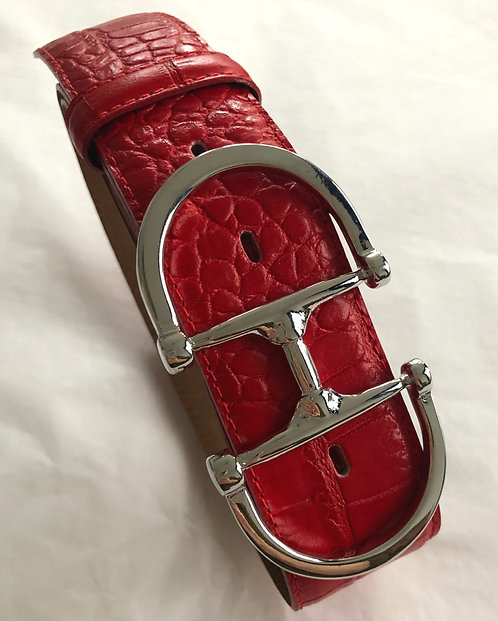 Belt red with snaffle silver