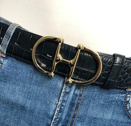 Belt dark blue with snaffle gold