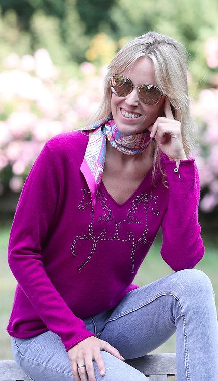 Cashmere V-neck NC-Horses purple