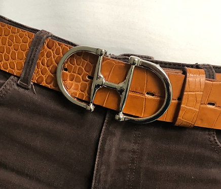 Belt with snaffle silver, cognac