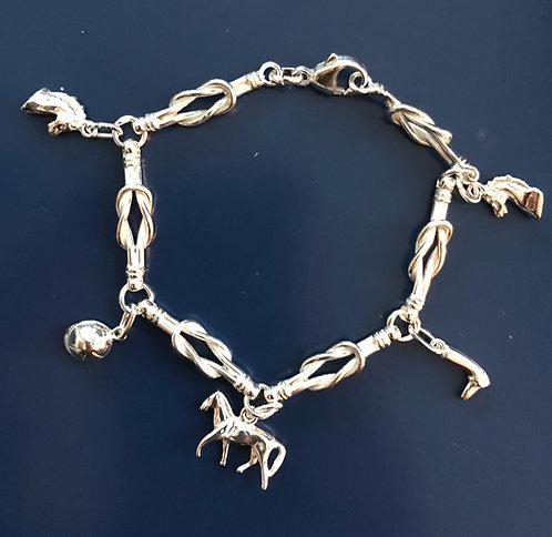 Silver bracelet with equestrian motives