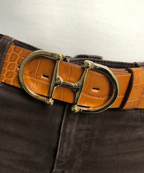 Belt with snaffle gold, cognac