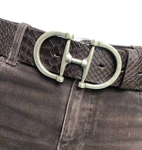 Belt dark brown with snaffle matt silver