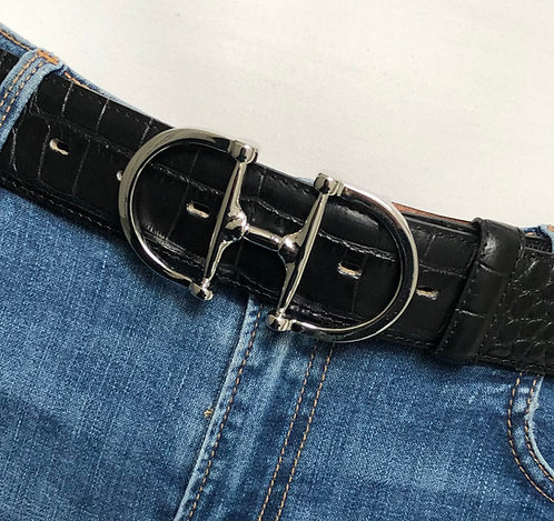 Belt black with snaffle silver