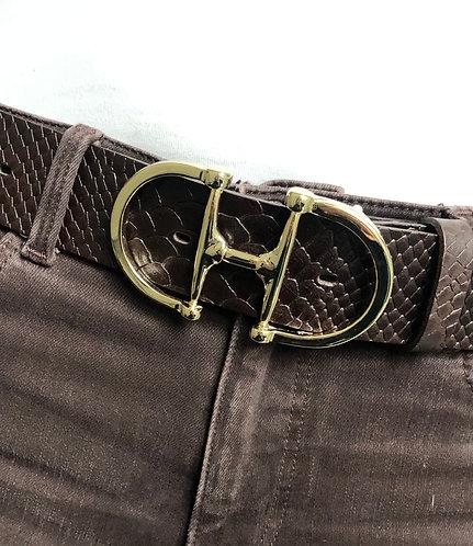 Belt dark brown with snaffle gold
