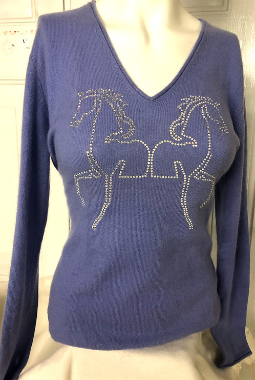 Cashmere V-neck NC-Horses blue