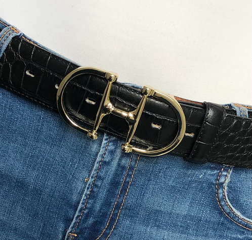 Belt black with snaffle gold