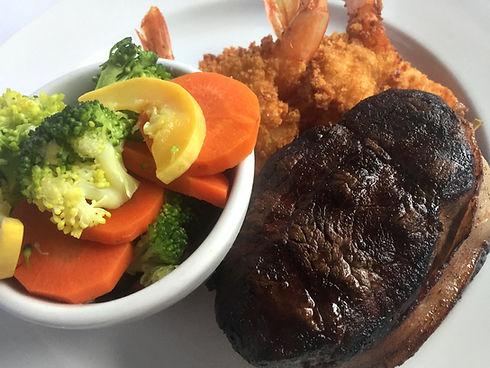 Steak shrimp fresh veggies