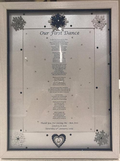First Dance/Wedding Song Frame