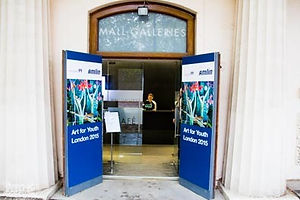 Entrance to Art for Youth London 2015 at the Mall Galleries London