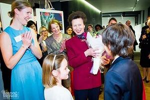 HRH The Princess Royal receiving a bouquet of flowers