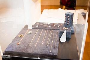 Display case of necklaces