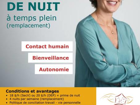 OFFRE D'EMPLOI - PRÉPOSÉE DE NUIT