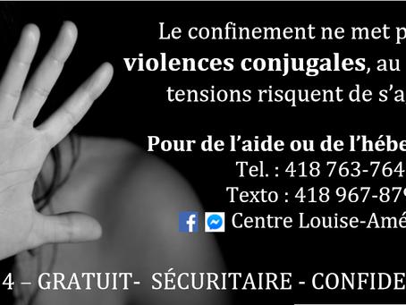 Le confinement ne met pas fin aux violences conjugales...