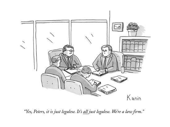 Cartoon of meeting between lawyers using legalese or legal jargon