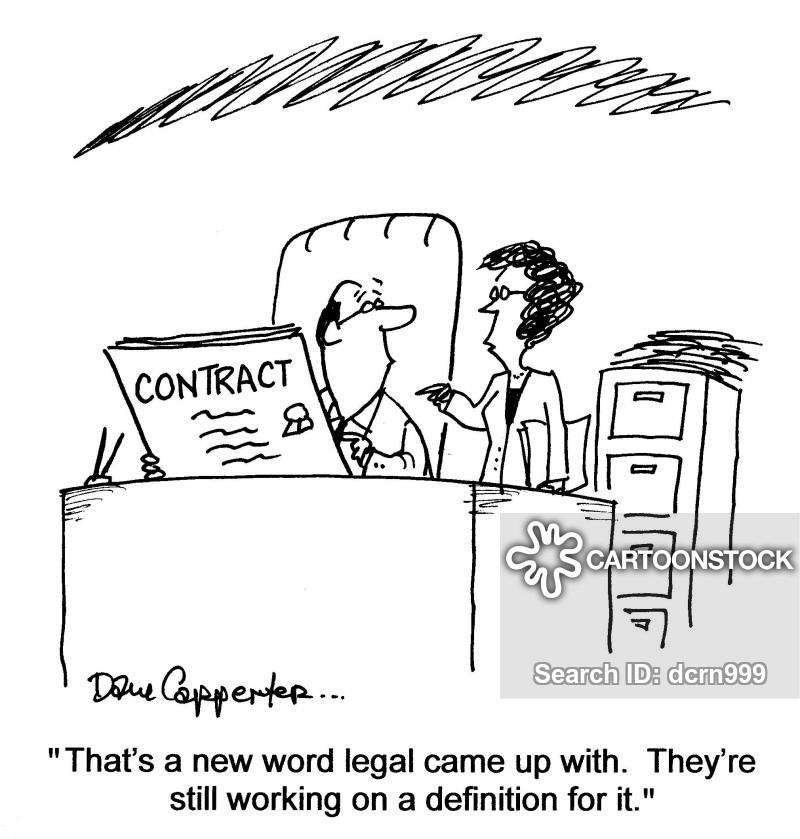 Cartoon about a man reading a contract containing legal jargon or terminology