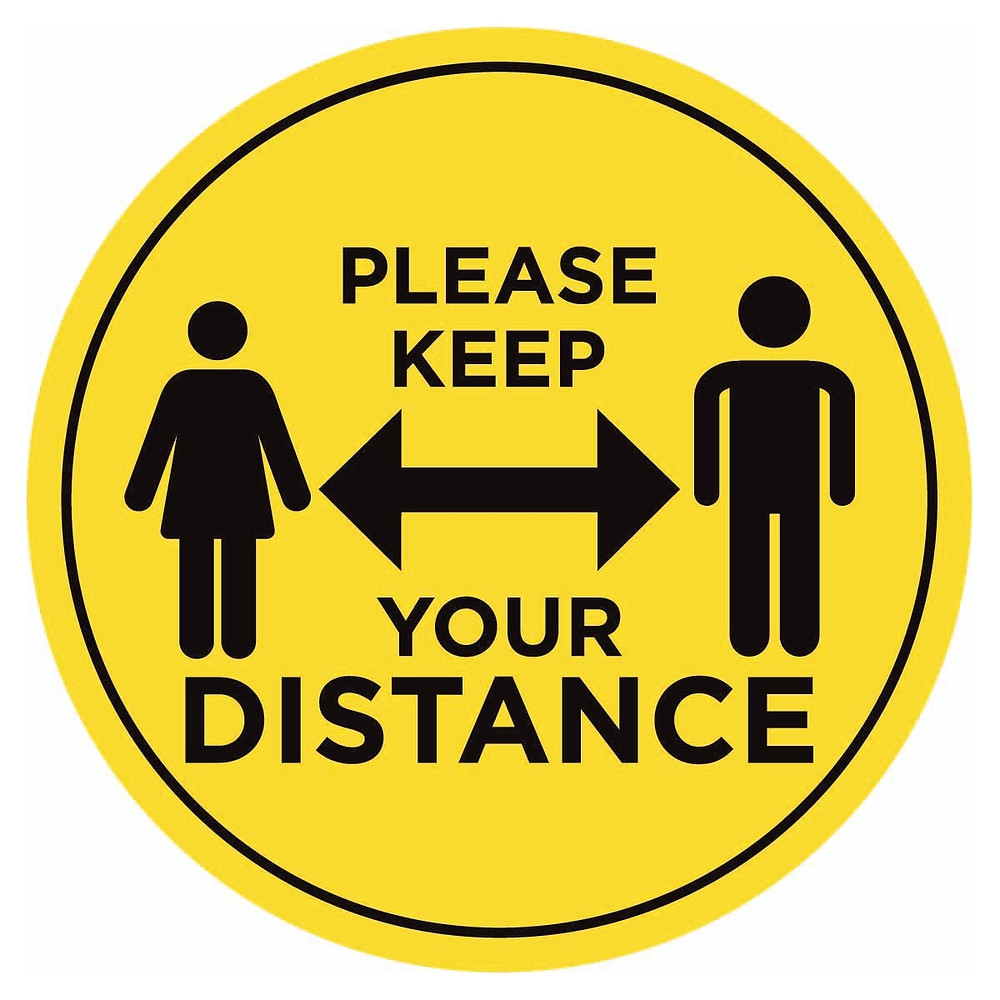 Yellow keep your distance sign for funerals during covid 19