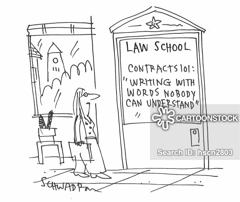 Cartoon about legal jargon and confusing terminology in contracts