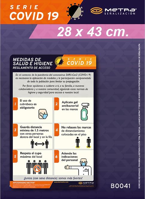 Medidas de salud e higiene (28 x 43 cm) 1pza.