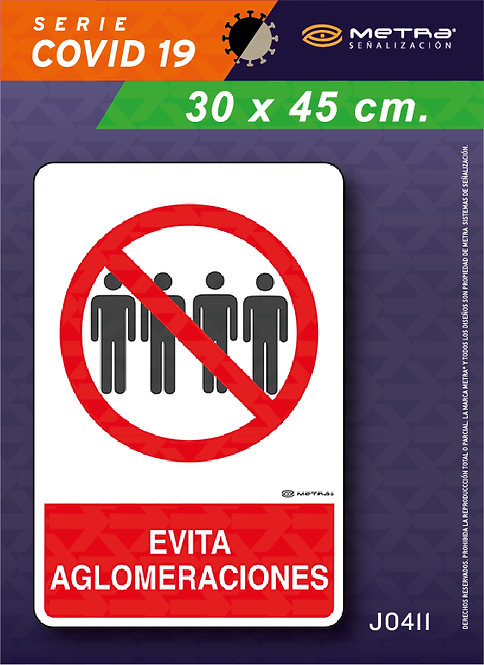 Evitar aglomeraciones (30 x 45 cm) 1 pza.