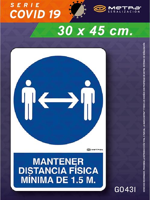 Distancia 1.5 m. (30 x 45 cm) 1 pza.