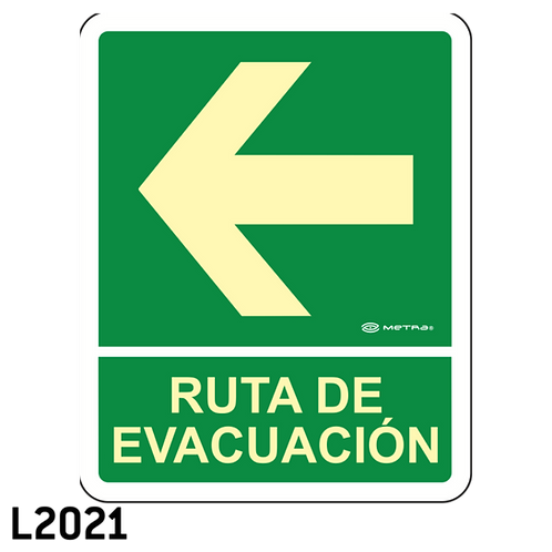 Ruta de Evacuación Izquierda (20 x 25 cm.)