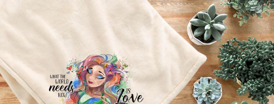 Fleece Throw Blanket - The World Needs Love
