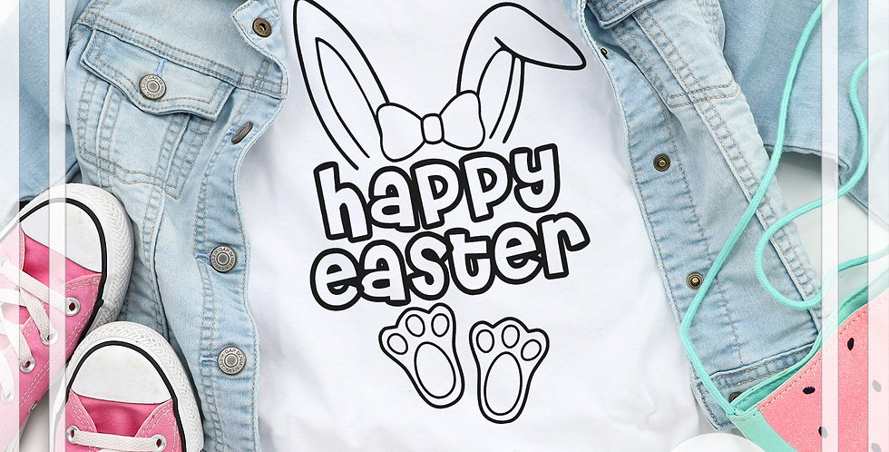 Happy Easter, Hair Bow, Coloring Tee