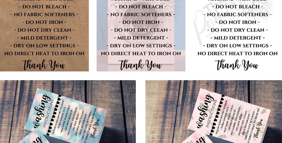 Washing Instruction Cards
