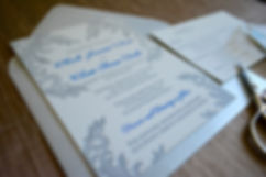Silver and blue lace letterpress wedding invitation suite, by Lucky Invitations.
