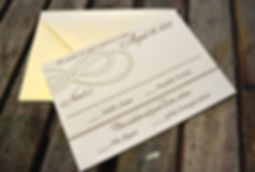 Letterpress RSVP card with double infinity design, by Lucky Invitations. Chicago wedding invitation.