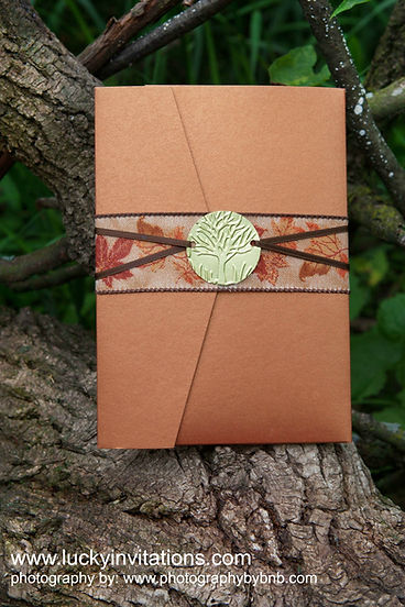 Fall wedding invitation with custom oak tree closure, by Lucky Invitations.
