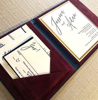 Velvet lined luxury wedding invitations, by Lucky Invitations.