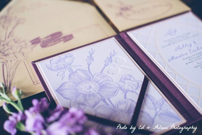 Floral letterpress invitation with blind deboss.