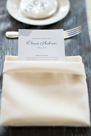 Personalized wedding menu by Lucky Invitations.