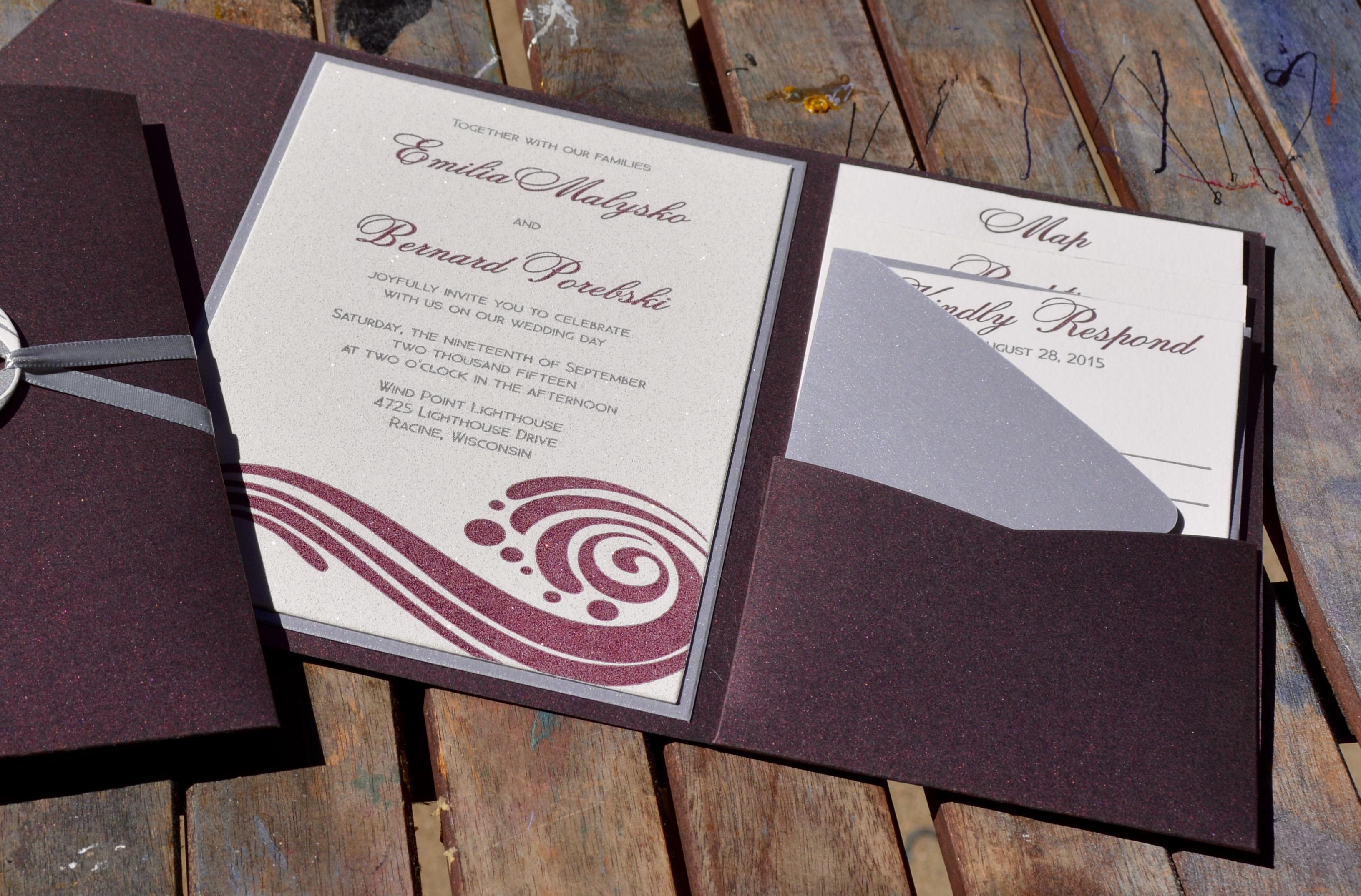 Letterpress Invitation - Glitter