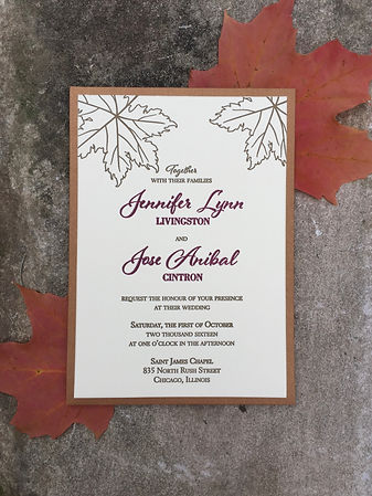 Letterpress wedding invitation with fall leaf design, by Lucky Invitations - Lake County, Illinois.