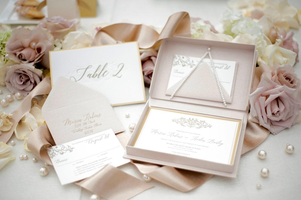 luxury blush boxed letterpress invitation - Boxed Wedding Invitations