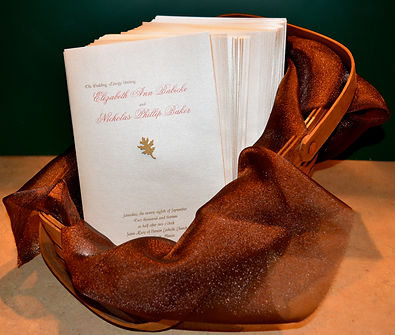 Custom designed ceremony program for fall wedding, by Lucky Invitations.