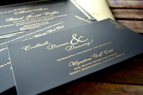 Black and gold letterpress wedding reception insert card, by Lucky Invitations. Chicago Wedding.