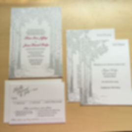 Letterpress Wedding Invitations with tree theme, by Lucky Invitations.
