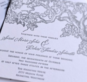 Letterpress wedding invitation with rustic tree design, by Lucky Invitations - Lake County, Illinois.