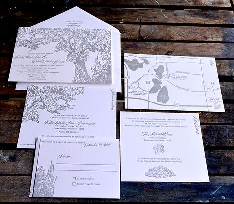 Tree theme letterpress wedding invitation suite with hand drawn wedding map, by Lucky Invitations - Chicago.