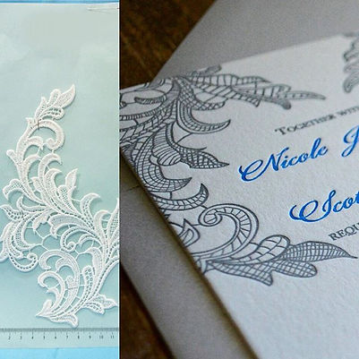 Lace letterpress wedding invitations, Lucky Invitations - Chicago.