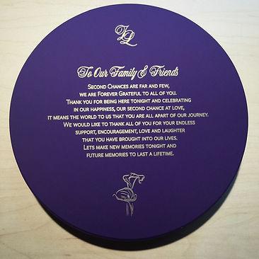 Round letterpress thank you card for wedding reception in purple and gold, for Lucky Invitations.