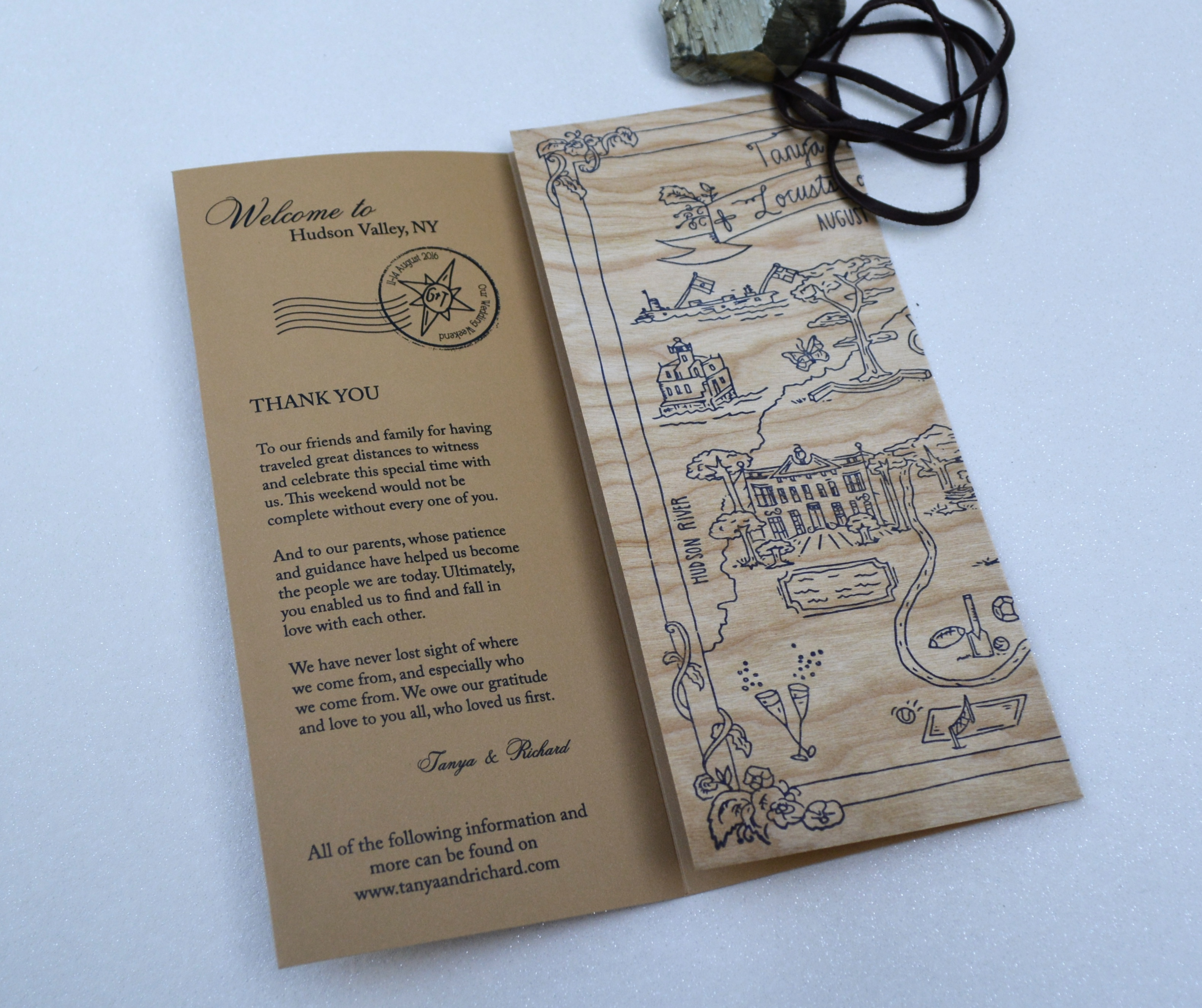 Wedding-weekend-itinerary-printed-on-wood-paper-by-lucky-invitations