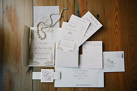 Blush and gold letterpress wedding invitation suite by Lucky Invitations. Photo by Paul Johnson photography.