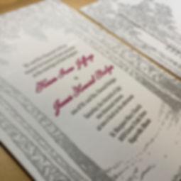 Birch tree themed letterpress wedding invitation, by Lucky Invitations - Chicago.