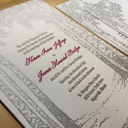 Birch tree themed letterpress wedding invitation, by Lucky Invitations - Chicago.